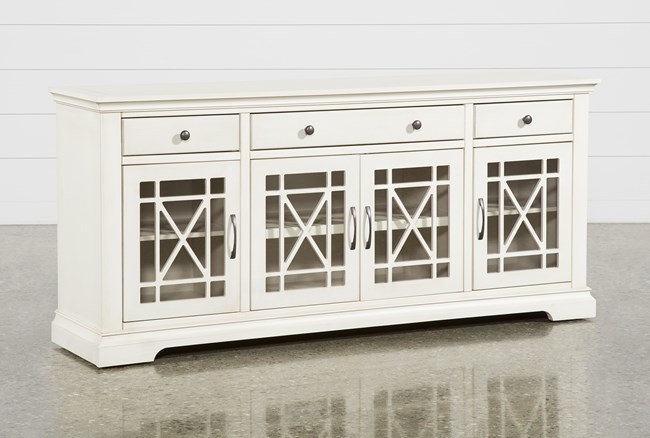 Belle Antique White 70 Inch TV Stand With Glass Doors - 360