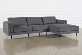 """Aquarius II Dark Grey 2 Piece 120"""" Sectional With Right Arm Facing Chaise"""