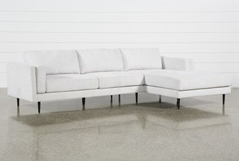 """Aquarius II Light Grey 2 Piece 120"""" Sectional With Right Arm Facing Chaise"""
