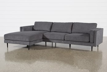 """Aquarius II Dark Grey 2 Piece 120"""" Sectional With Left Arm Facing Chaise"""