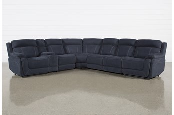 "Levi 7 Piece Power Layflat 141"" Sectional With Power Headrest & Usb"