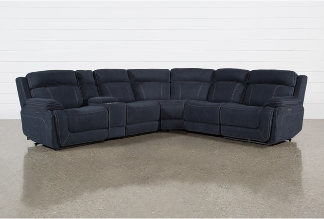 Levi 6 Piece Power Layflat Sectional With Power Headrest & Usb - 360