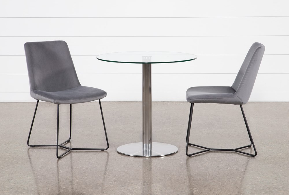 Braun 3 Piece Dining Set With Sable Grey Chairs