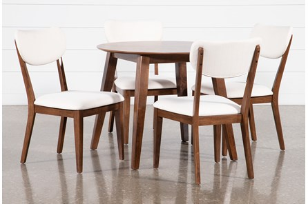 Kara 5 Piece Round Dining Set With Upholstered Back Chairs
