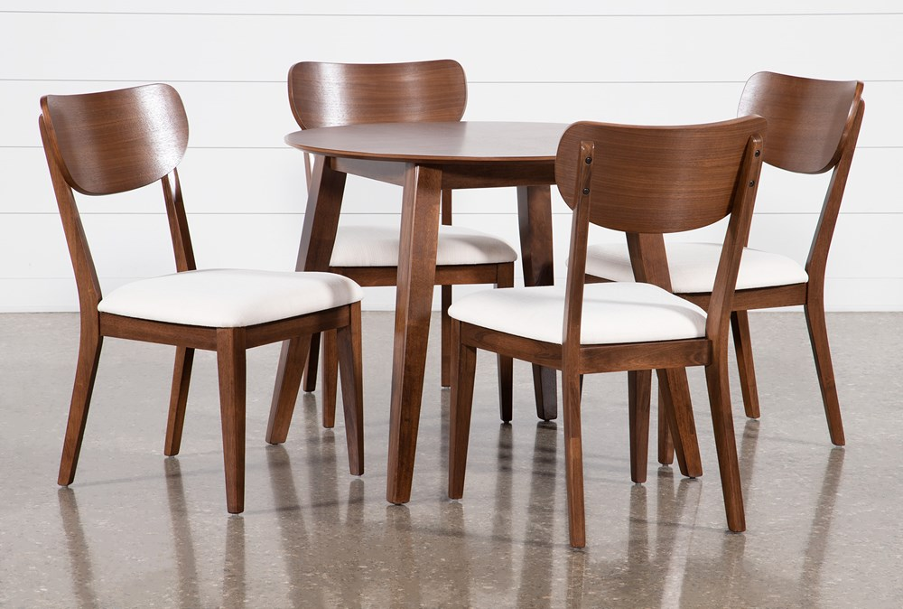 Kara 5 Piece Round Dining Set With Wood Back Chairs