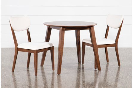 Kara 3 Piece Round Dining Set With Upholstered Back Chairs - Main