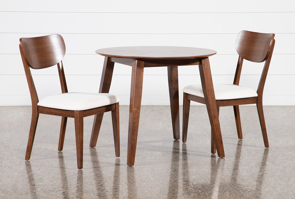 Kara 3 Piece Round Dining Set With Wood Back Chairs