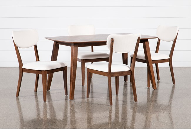 Kara 5 Piece Rectangle Dining Set With Upholstered Back Chairs - 360