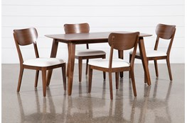 Kara 5 Piece Rectangle Dining Set With Wood Back Chairs