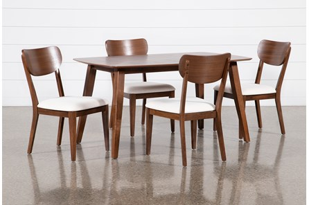 Kara 5 Piece Rectangle Dining Set With Wood Back Chairs - Main