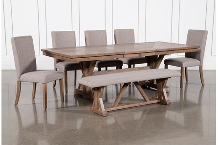 Shay 7 Piece Extension Dining Set With Bench