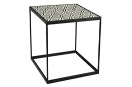 Black + White Bone Inlay Side Table