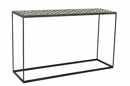 Black + White Bone Inlay Console Table