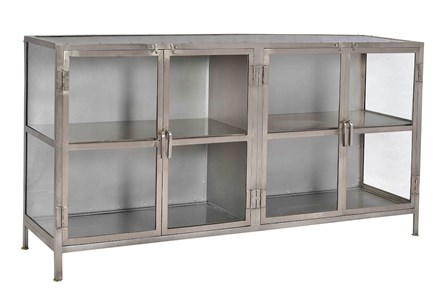 Gray Metal + Glass Cabinet