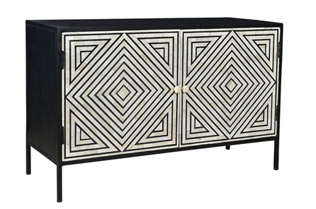 Black + White Bone Inlay Diamond Bone Inlay Sideboard