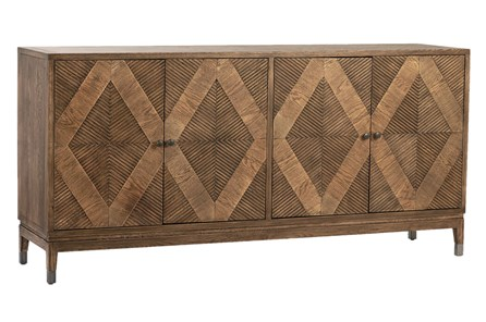 Natural Wood Diamond Pattern 4 Door Sideboard