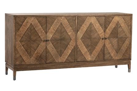 Natural Wood Diamond Pattern 4 Door Sideboard