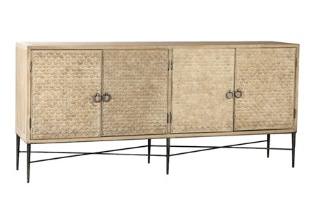 Light Wood 4 Door 3 Dimensional Sideboard