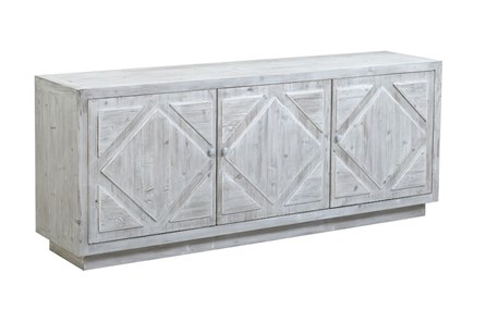 White Wash Plinth Base Diamond Pattern Sideboard