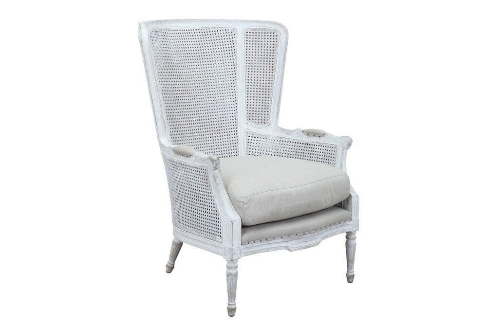 White Wash Cane Accent Chair
