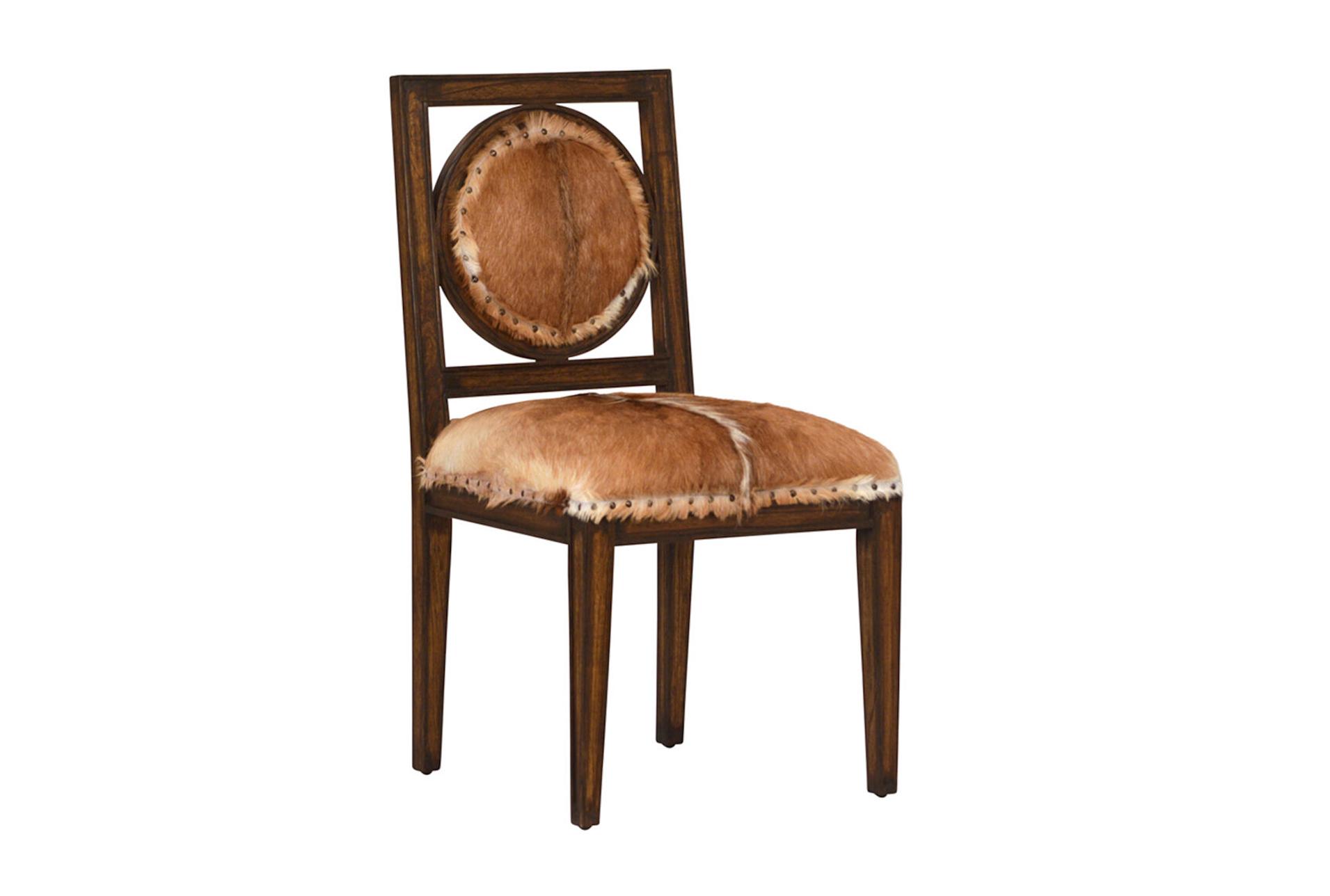 Cowhide Wood Dining Chair