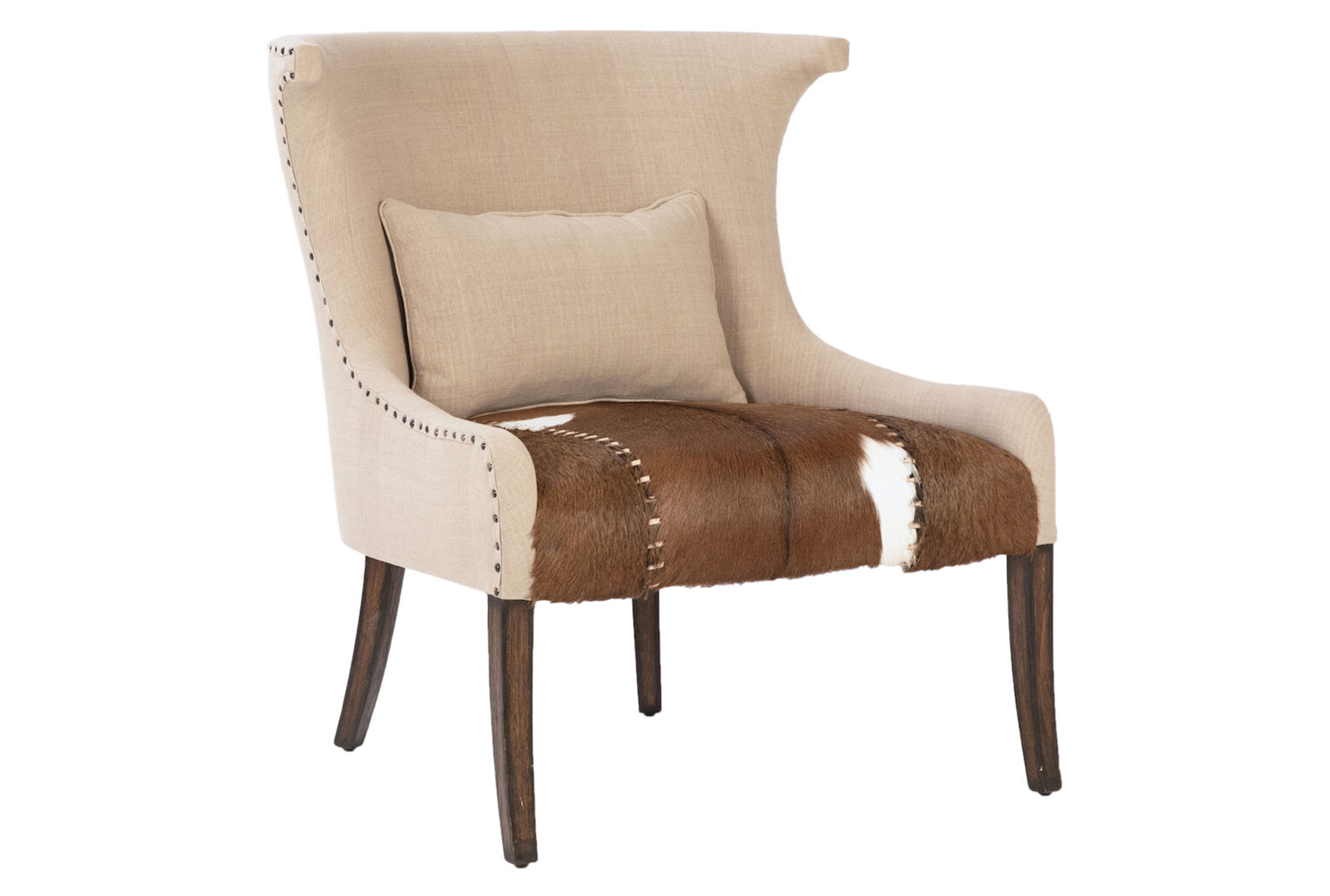 Beige With Cowhide Seat Accent Chair