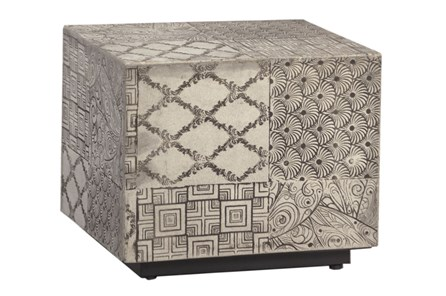Mixed Print Grey Side Table
