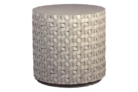 Round White Cement Side Table