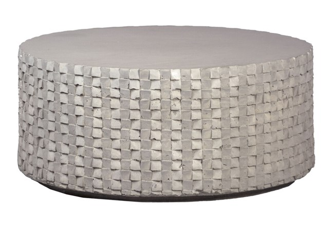 Round White Cement Coffee Table  - 360