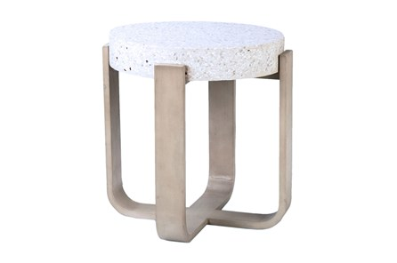 Round White Terazzo End Table