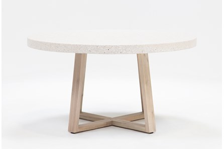 Round White Terazzo Dining Table