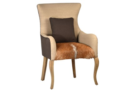 Grey + Beige Accent Chair With Hide Seat