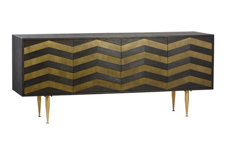 Dark Brown Brass Inlay Sideboard