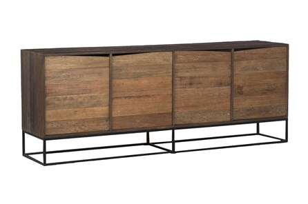 Natural + Dark Brown 4 Door Sideboard