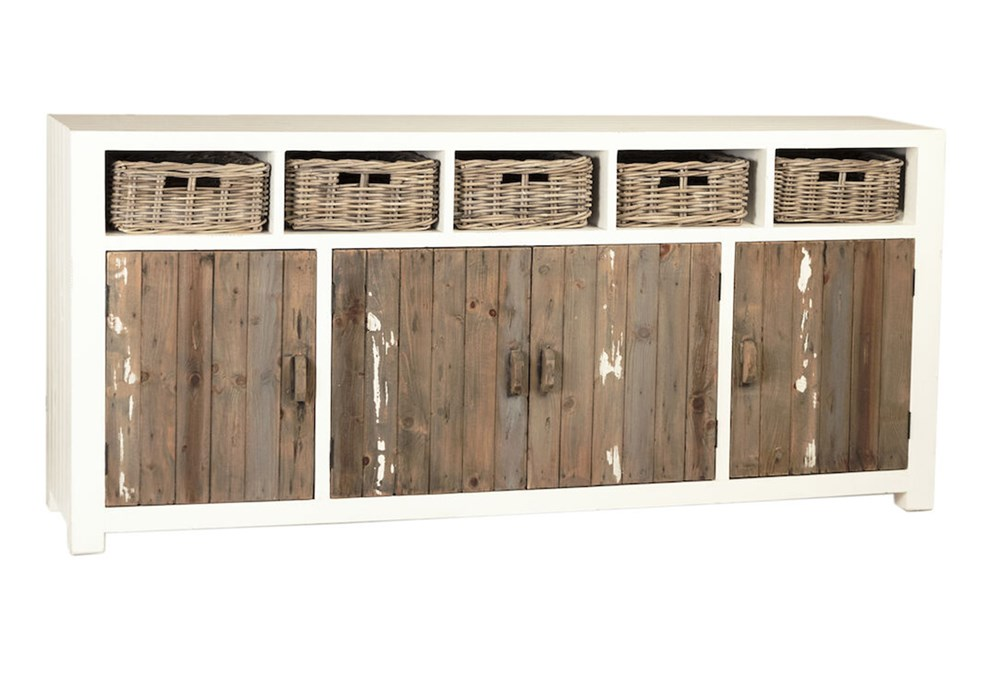 "White + Reclaimed Wood 80"" Sideboard With Baskets"