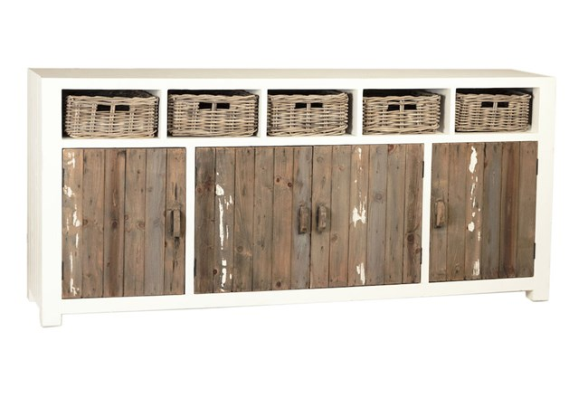 "White + Reclaimed Wood 80"" Sideboard With Baskets  - 360"