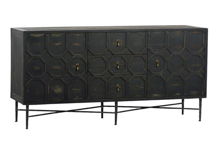 Black Pieced 4 Door Sideboard