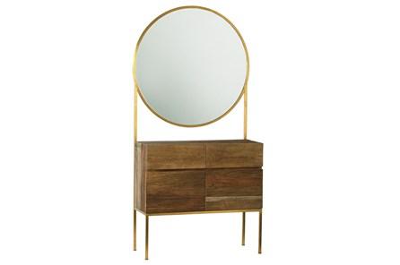 Natural Dresser With Round Mirror