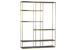 Metal Bookcase With Elm Shelves