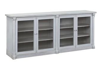 "White Glass Front 4 Door 84"" Sideboard"