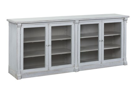 White Glass Front 4 Door Sideboard