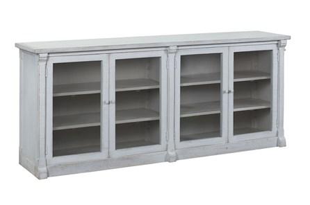 White Glass Front 4 Door Sideboard