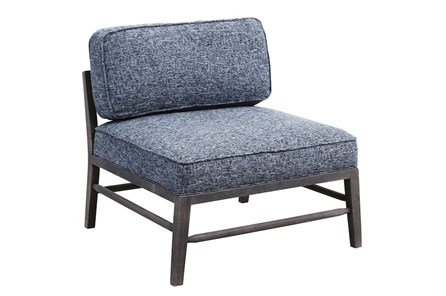 Blue Textured Armless Chair
