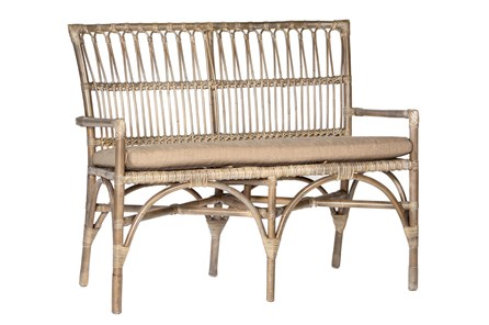 Natural Woven Bench With Cushion