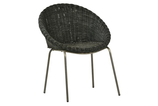 Black Woven Coccoon Dining Chair