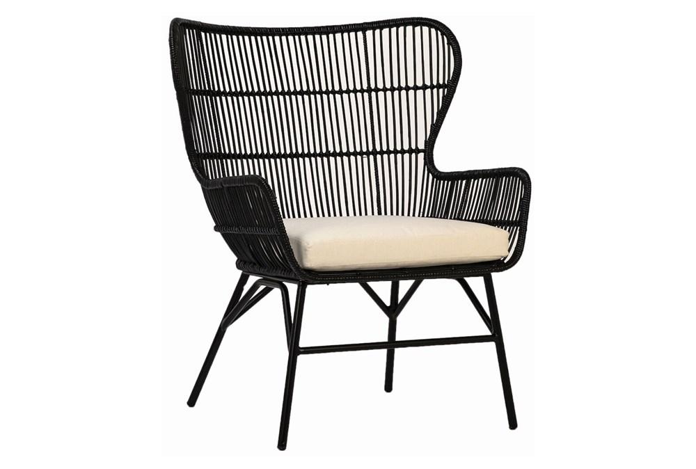 Black Woven Arm Chair With Cushion