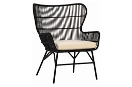 Black Woven Arm Chair With Cushion