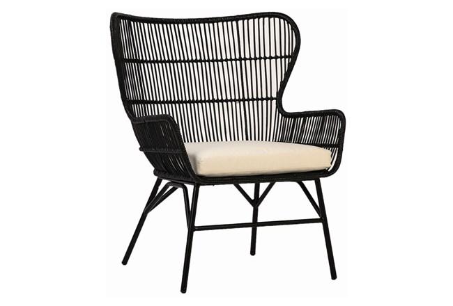 Black Woven Arm Chair With Cushion - 360