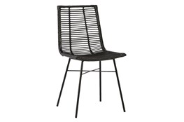 Black Woven Dining Side Chair