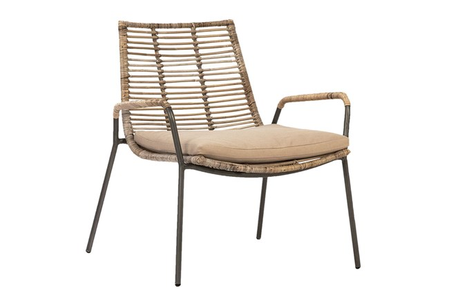 Natural Woven Dining Chair With Cushion - 360